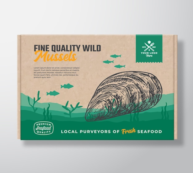 Fine quality seafood cardboard box abstract vector food packaging label design modern typography and...