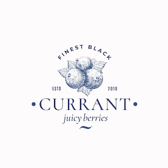 Finest black currant abstract  sign, symbol or logo template.