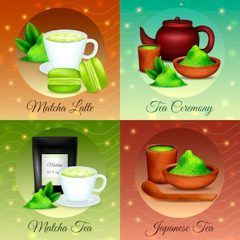 Finest organic japanese matcha green powder tea ceremony desserts recipes realistic icons concept