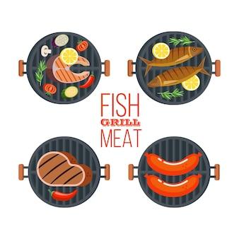 Finest  pork. vector illustration. cute pig, big tasty steak, mustard and ketchup.