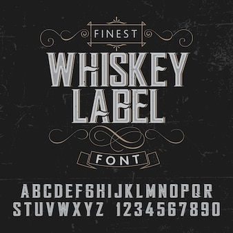 Finest whiskey label poster with decoration on black illustration