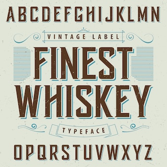 Finest whiskey poster with decoration and ribbon  in vintage style illustration