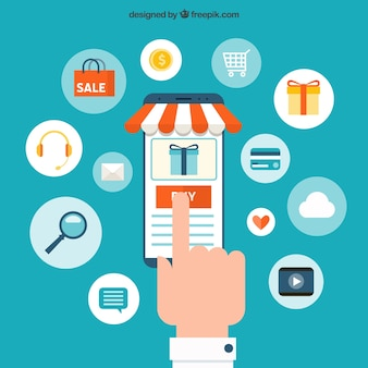 Finger buying products on smartphone