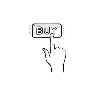 Палец нажимает на кнопку «купить», рисованной наброски каракули значок. электронная коммерция, покупка, концепция интернет-магазинов. векторная иллюстрация эскиз для печати, интернета, мобильных устройств и инфографики на белом фоне.