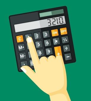 Палец щелкает по иллюстрации калькулятора