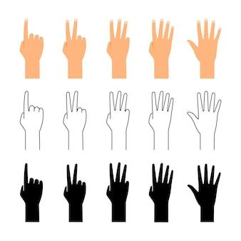 손가락 수. 손 계산 흰색 절연