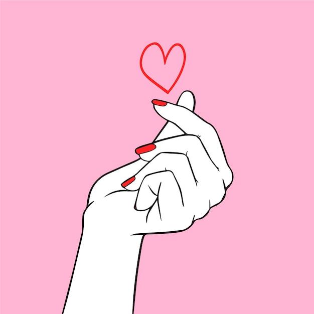 Finger heart drawn