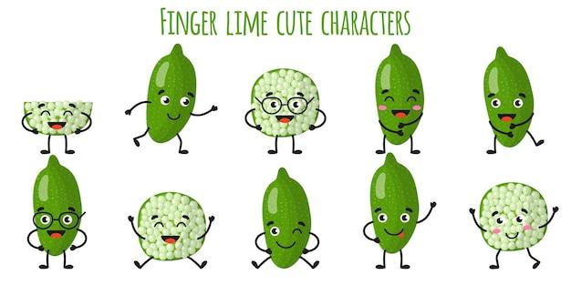 다른 포즈와 감정을 가진 손가락 라임 과일 귀여운 재미있는 쾌활한 캐릭터