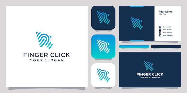 指のロゴのベクトルテンプレートと名刺のデザイン