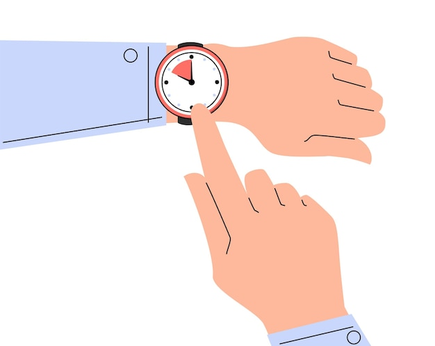 Finger pointing at watch on the hand vector isolated. time is ticking, concept of deadline and time management. checking time.