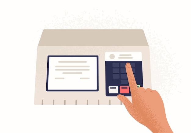 白い背景で隔離の電子投票機の指を押すボタン。