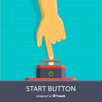 Finger pressing red start button in flat design