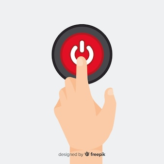 Finger pressing red start button in flat style