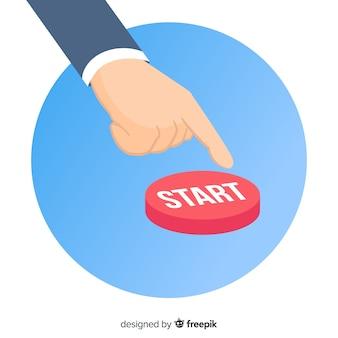 Нажатие красной кнопки пуска в плоском дизайне