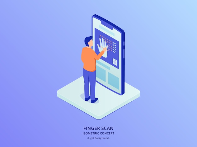 Finger print biometric scanner with people standing in front smartphone with isometric style