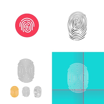 Finger print or fingerprint icon line outline button and doodle style set