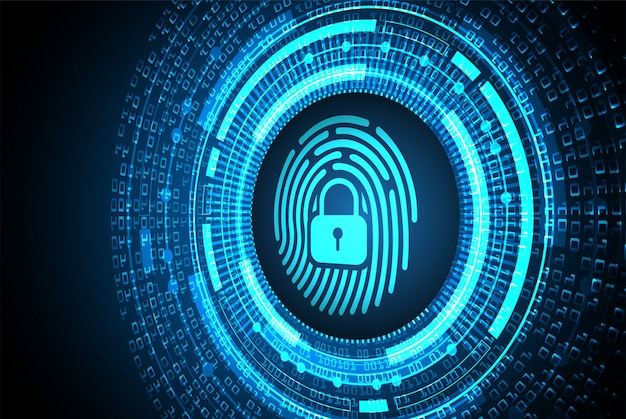 Finger print network cyber security background, closed padlock