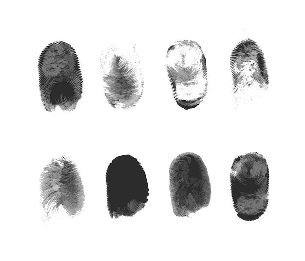 Набор иконок сканирования отпечатков пальцев. сканирование отпечатков пальцев обеспечивает безопасный доступ с биометрической идентификацией. бизнес веб-технологии, концепция безопасности. рука нарисованные векторные иллюстрации