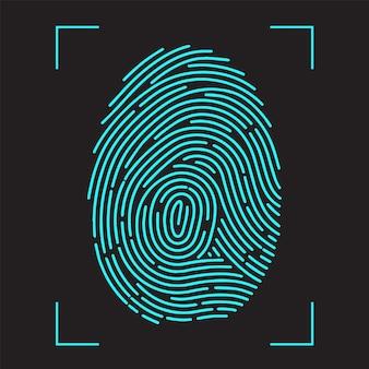 指紋スキャン識別システム。生体認証とビジネスセキュリティの概念。フラットスタイルのベクトル図