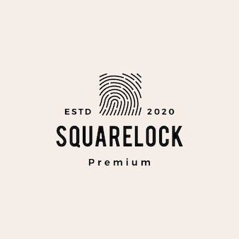 Finger print square lock hipster vintage logo  icon illustration