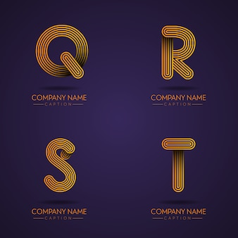 Finger print style professional letter qrst logos