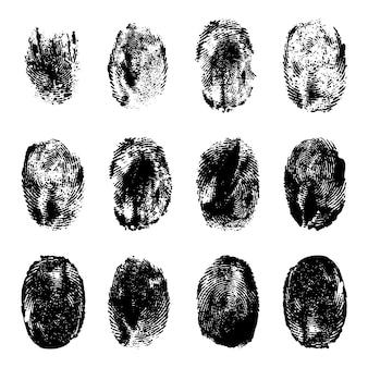 지문. 인간의 현실적인 검정 잉크 지문입니다. 그런 지 손 마크 텍스처입니다. 식별 개별 인쇄물 엄지 라인 벡터 세트. 곡선과 소용돌이가 있는 독특한 마크. 개인 각인 프리미엄 벡터