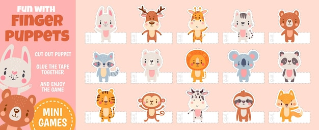 종이 컷 어린이 활동을 위한 손가락 인형 숲 동물. 수제 만화 장난감이 있는 홈 시어터. 어린이 공예 교육 벡터 페이지