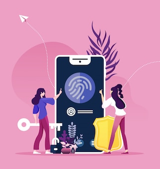 Finger recognition concept, online security protection