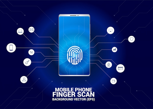 Finger scan access on mobile phone screen