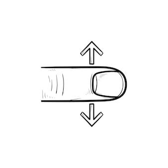 손가락 스크롤 터치 스크린 손으로 그린 개요 낙서 아이콘. 아래로 스크롤, 인터페이스 및 디지털 장치 개념. 인쇄, 웹, 모바일 및 흰색 배경에 인포 그래픽에 대한 벡터 스케치 그림.
