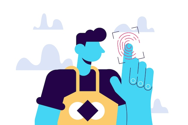 Fingerprint access new technologies young male character scanning their finger