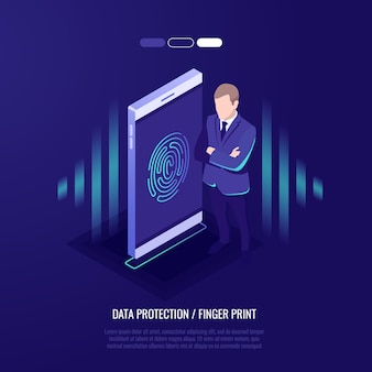 Fingerprint access password, man with mobile phone