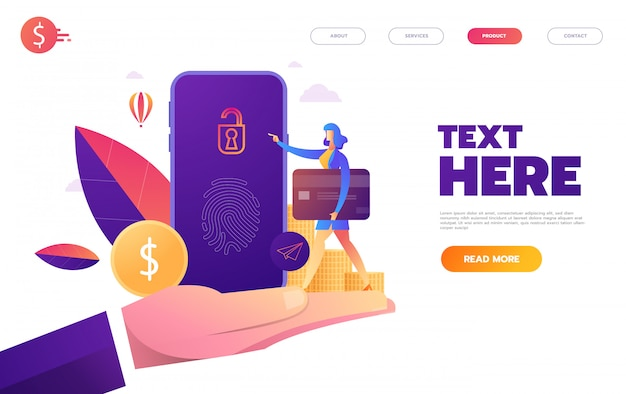 Fingerprint access password, woman with mobile phone, fingerprint personal data guard isometric  ultraviolet background,