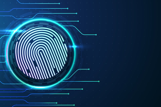 Fingerprint background in neon style