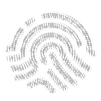 指紋バイナリコード。データアクセスまたは検証。デジタル識別。ベクトルイラスト