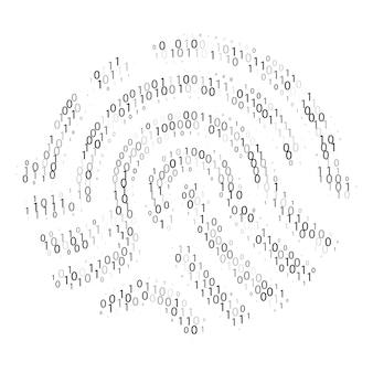 Двоичный код отпечатка пальца. цифровая идентификация. доступ к данным или проверка. векторная иллюстрация