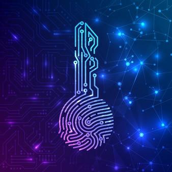 하드웨어 및 소프트웨어 정보 시스템에서 식별을 위한 지문 생체 인식 회로 키입니다. 추상 미래 기술 배경입니다. 벡터 일러스트 레이 션