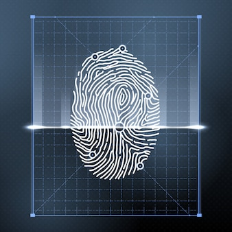 Fingerprint biometric scan for personal verification.