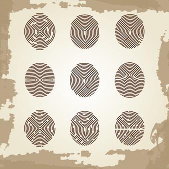 Fingerprint collection on grunge vintage backdrop