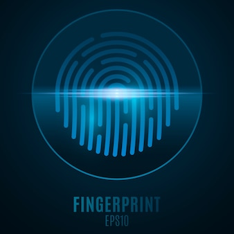 Fingerprint for computer system security with neon scan. futuristic blue padlock button. laser scanning for touch screen device. computer circuit board