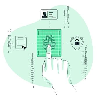 Illustrazione di concetto di impronte digitali