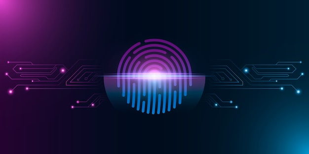 Отпечаток пальца для безопасности компьютерной системы с неоновым сканированием. футуристический фиолетовый и синий замок. лазерное сканирование для устройства с сенсорным экраном. печатная плата компьютера.
