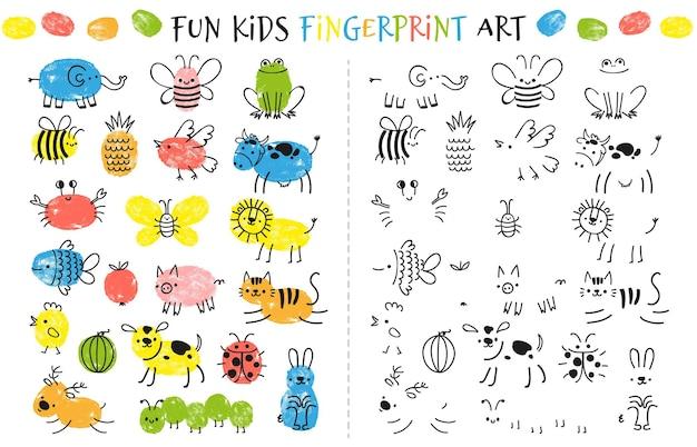 아이들을 위한 지문 게임. 아이들이 손가락으로 그림을 그리는 재미있는 교육 활동입니다. 꿀벌, 코끼리, 개구리, 소, 나비, 고양이로 설정된 낙서 동물과 곤충 그리기 벡터