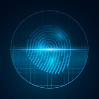 グリッドを使用したコンピューターシステムのセキュリティのためのハイテク指紋。南京錠をスキャンします。タッチスクリーン用スキャナー。ソフトウェア。