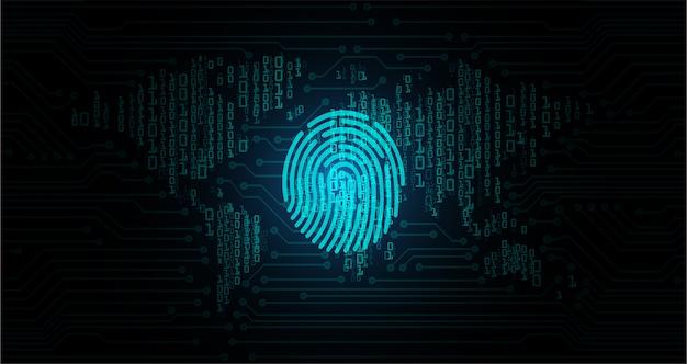 Fingerprint hud on digital background, world cyber security