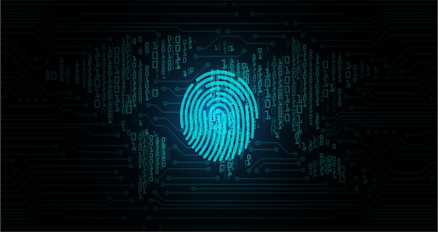 デジタルバックグラウンド、世界のサイバーセキュリティの指紋hud