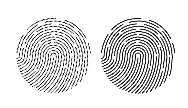 Дизайн значка отпечатка пальца для приложения и плоский сканер отпечатка пальца.