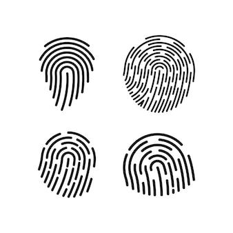 Набор иконок отпечатков пальцев дизайн шаблона векторные иллюстрации изолированные