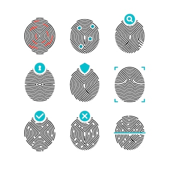 Fingerprint  icons. identity finger prints or thumbprints