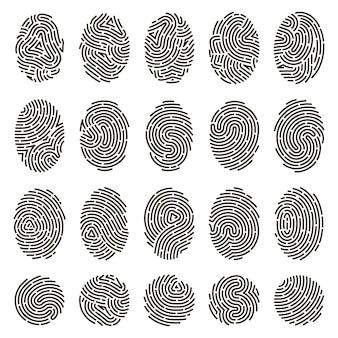 指紋の識別。生体認証による人間の指紋、独特の親指の線の刻印。